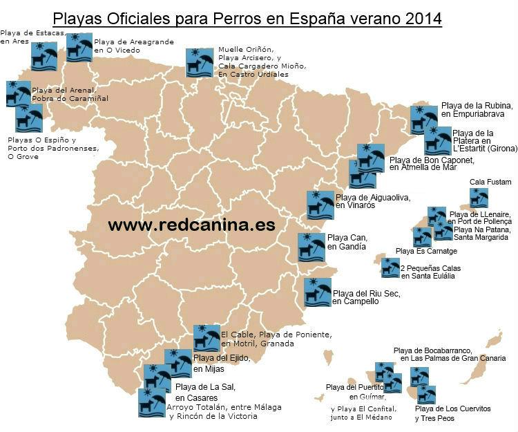 Mapa de Playas para perros en España en 2014